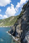 Track along cliffs Via dell Amore Way of Love Cinque Terre Liguria Italy Europe Stock Photos