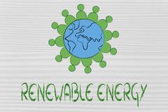 surreal interpretation of green economy, planet Earth with green men - stock illustration