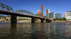 Hawthorne Bridge Over Willamette River in Portland, Oregon - stock photo