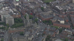 AERIAL Ireland-Liffey River To Dublin Harbour Stock Footage