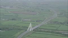 AERIAL Ireland-Bridge Over River Boyne Stock Footage