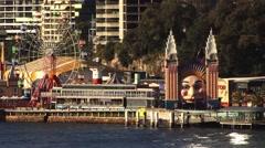 Theme park fair ground Sydney Harbour Stock Footage