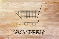 Shopping cart, symbol of marketing techniques and strategy Stock Illustration