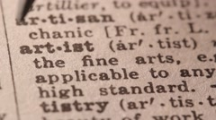 Artist - Fake dictionary definition of the word with pencil underline Stock Footage