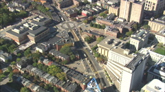 AERIAL United States-T Trains Passing In Brookline - stock footage