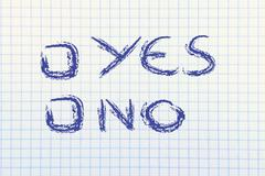 Paper with yes or no multiple choice test Stock Illustration