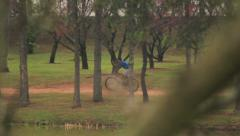 Cloudy day in the brazilian park. Leisure, children, bicycle, bike. Stock Footage