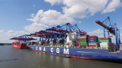 Container ships and containers in the port of Hamburg, Germany Stock Footage