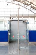 closed rack passport control - stock photo