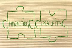 Marketing & profits, jigsaw puzzle design Stock Illustration