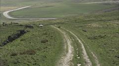 AERIAL United Kingdom-Blackstone Edge Roman Road Stock Footage