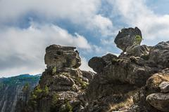 Rock formation mountain scenery L39Ospedale Alta Rocca Corsica France Europe - stock photo