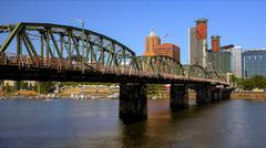 Hawthorne Bridge Over Willamette River in Portland - stock photo