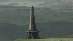 AERIAL United Kingdom-Stoodley Pike Monument On Pennine Way Stock Footage