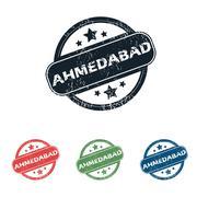Round Ahmedabad city stamp set Stock Illustration