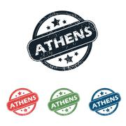 Stock Illustration of Round Athens city stamp set