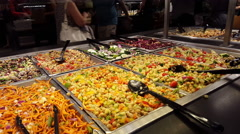 Fresh Food at Salad Bar 4K Stock Footage