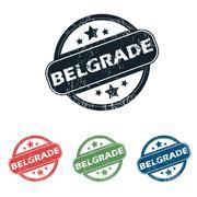 Round Belgrade city stamp set - stock illustration