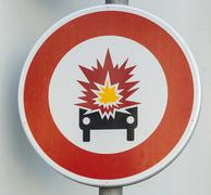 Stock Photo of Traffic sign Caution car accident France Europe
