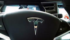 Stock Video Footage of Steering  Wheel Tesla Electric Car 4K