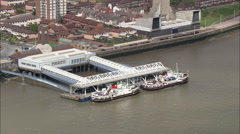 AERIAL United Kingdom-The Mersey Ferries Stock Footage