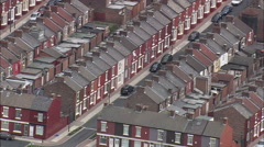 AERIAL United Kingdom-Liverpool's Old Terraced Housing Stock Footage