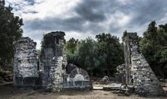 Ruins of the church of Santa Maria di Riscamone against a dramatic sky Valle - stock photo