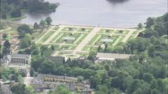 AERIAL United Kingdom-Trentham Gardens Stock Footage