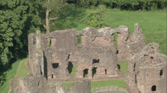 AERIAL United Kingdom-Raglan Castle Stock Footage
