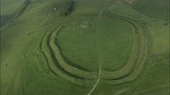 AERIAL United Kingdom-Barbury Castle Stock Footage