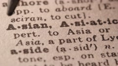 Asian - Fake dictionary definition of the word with pencil underline Stock Footage