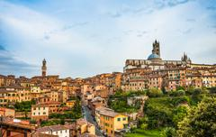 Historic centre with the cathedral Cattedrale di Santa Maria Assunta and Torre - stock photo