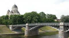 Mergeles Marijos Dievo Motinos church and the Neris River in Vilnius Lithuania Stock Footage