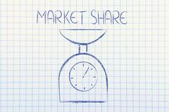 find balance and measure your market share - stock illustration