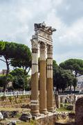 Stock Photo of Temple of Castor and Pollux 484 BC Corinthian columns Roman Forum Rome Lazio
