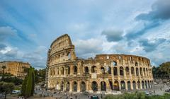 Amphitheater Colosseum with dramatic clouds Rome Lazio Italy Europe Stock Photos