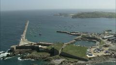 AERIAL Guernsey-Alderney Harbour - stock footage