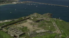 AERIAL Guernsey-Coast Forts - stock footage