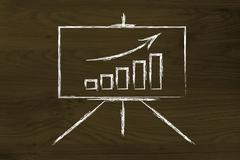 meeting room whiteboard stand with positive stats graph - stock illustration