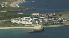 AERIAL Guernsey-Alderney Villages Stock Footage