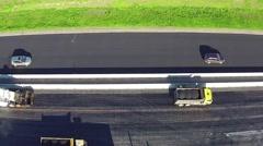 Aerial View of Road Repairs Stock Footage