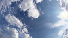 Floating clouds in the blue sky Stock Footage