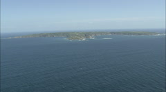 AERIAL Guernsey-Approaching Brecqhou Castle Stock Footage