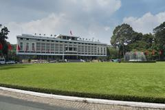 Reunification Palace from 1955 to 1975 Independence Palace famous landmark Ho - stock photo