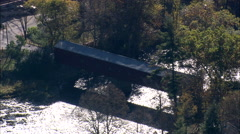 AERIAL United States-West Cornwall Covered Bridge Stock Footage