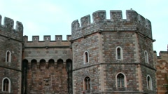 The upper part of the right stone tower guarding the exit from Medieval Windsor Stock Footage