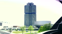 ULTRA HD 4K real time shot,BMW headquarters building in Munich Stock Footage