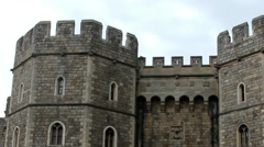 Upper part of the left stone tower guarding the exit from Medieval Windsor Castl Stock Footage