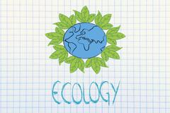 Stock Illustration of surreal interpretation of green economy, planet earth with leaves