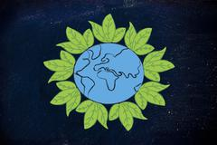 surreal interpretation of green economy, planet earth with leaves - stock illustration